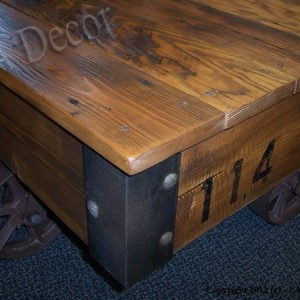 """Factory Cart Coffee Table 28"""" x 36""""  - Coffee table on wheels - Industrial Cart Table"""""""