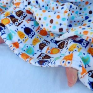 Baby blanket, Night Owl Baby Blanket, Blue & Orange Night Owl Minky Baby Blanket With Dot Minky