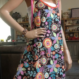 Bright Colorful Flowers on a Black Apron - Unique Bias cut Vintage style Apron