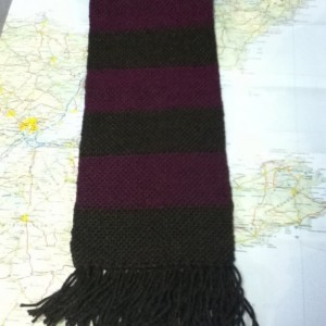 brown & fushia:  handwoven striped scarf