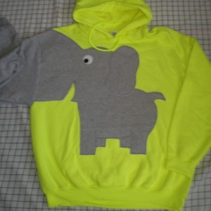 Elephant sweater, elephant sweatshirt, elephant trunk sleeve HOODIE Highlighter yellow X Large