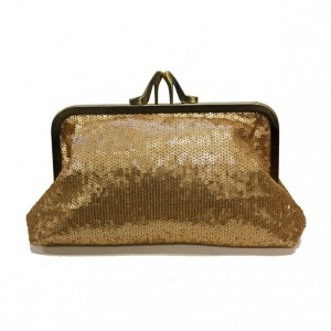 gold sequins heel clutch