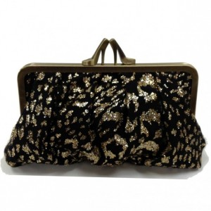 black & gold leopard heel clutch
