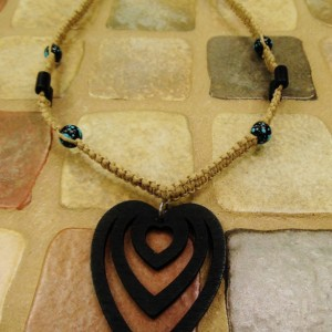 Hemp necklace with wooden heart pendant