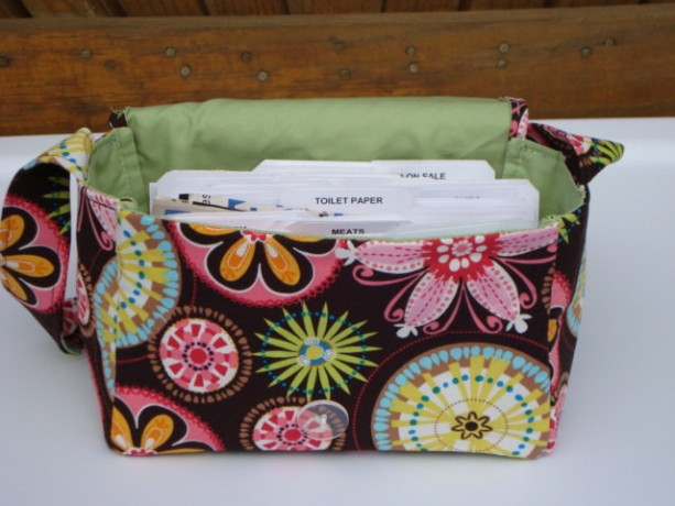Super Size Coupon Organizer / Budget Organizer Holder Box - Attaches to Your Shopping Cart -Carinval Bloom / Lime Green Lining