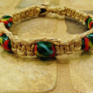 Hand Made Hemp Bracelet with Recycled Glass Beads