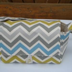 Super Size Coupon Organizer / Budget Organizer Holder Box - Attaches to Your Shopping Cart - Summerland  / Zig Zag Chevron Duck Fabric