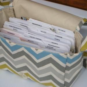 Super Size Coupon Organizer / Budget Organizer Holder Box - Attaches to Your Shopping Cart - Summerland  / Zig Zag Chevron Duck Fabric