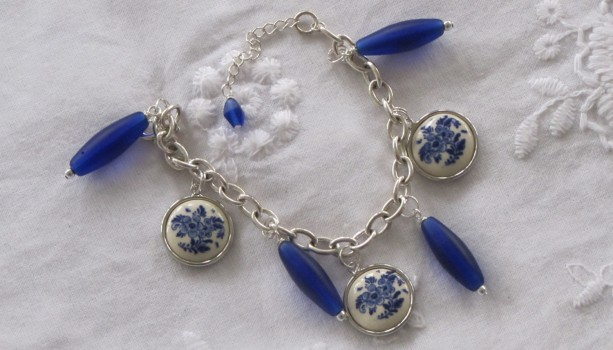 Charm Bracelet with Vintage Delft Charms and Glass Beads
