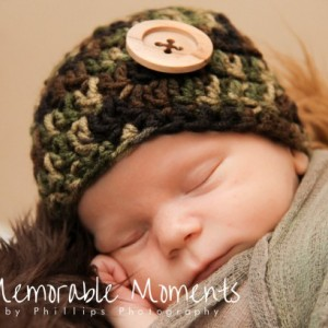 Sweet Sleep Camo Button Beanie, camo hat, newborn camo hat, hunter hat, baby camo, baby hunter, camo prop hat, newborn hunter in training