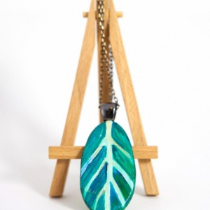 Statement Jewelry, Turquoise Teal Gold Leaf OOAK Pendant and Necklace - Woodland, Hipster, Boho, Chic, Nature Pendant by Kimberly Kling