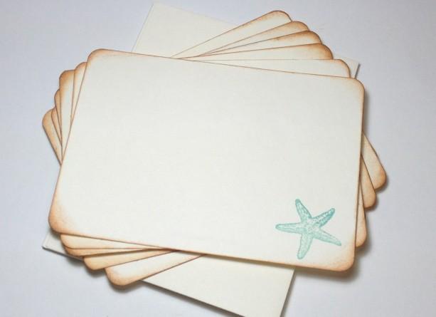 Nautical Beach Thank You Cards Starfish Flat Cards Beach Wedding Thank You Cards Nautical Handmade Vintage Flat Card Set Starfish Sea Star
