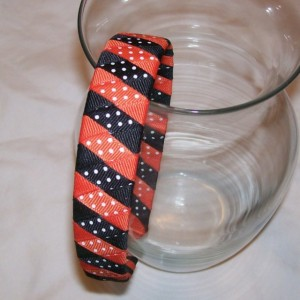Orange & Black Dots Woven Headband - Handmade - Halloween Headband - Orange Black Swiss Dots Grosgrain Ribbon Woven Braided Headband - 1 in.