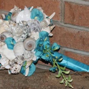 Blue Teal Cascading Seashell Bouquet