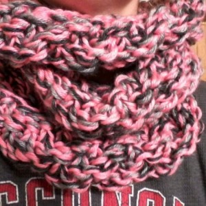 ONLY ONE AVAILABLE Knitted Woman's Infinity Scarf in Peach, Charcoal Gray and Light Gray