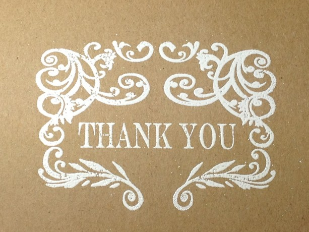 Rustic Wedding Handmade Thank You Note Card Set Embossed Thank Y