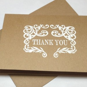Rustic Wedding Handmade Thank You Note Card Set, Embossed Thank You Cards, Kraft Thank You Cards, Wedding Baby Shower Thank You