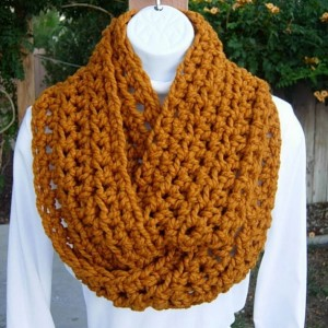 INFINITY SCARF Cowl Loop, Butterscotch Solid Dark Yellow Orange Gold, Soft Wool, Handmade Crochet Knit Circle Wrap..Ready to Ship in 2 Days