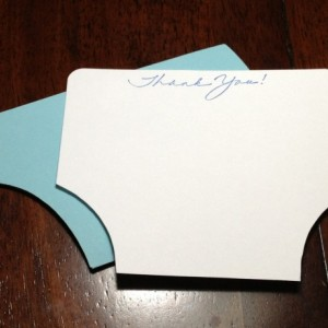 Baby Shower Diaper and Bodysuit Handmade Blue Thank You Note Card Set, Baby Shower Cards, Thank You, Diaper Handmade Diaper and One Piece