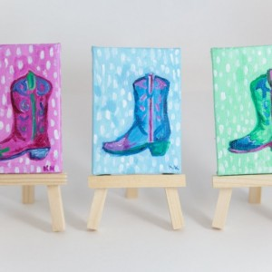 Southwestern Decor, Miniature Canvas, Cowboy Boot, Cowgirl, Pink, Blue, Green  - Original Mini Painting by Kimberly Kling