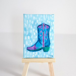 Southwestern Decor, Miniature Canvas, Cowboy Boot, Cowgirl, Pink, Blue, Green, Hand-Painted  - Original Mini Painting by Kimberly Kling