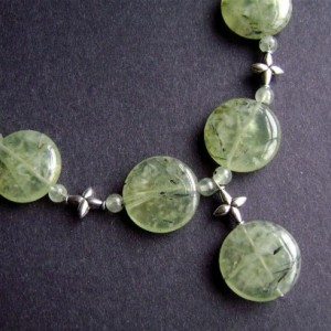 Prehnite Necklace, Sterling Silver, Gemstone Jewelry, Rutilated Prehnite, Green Necklace, Lime, Bamboo, Chartreuse, 472