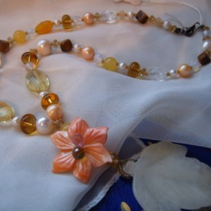 Lemon and Tangerine Spring Is Here Couture Creation Necklace