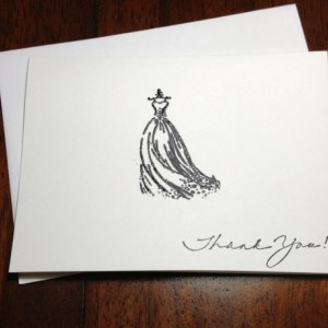Bridal Shower Thank You Note Card Set Hand Embossed Wedding Gown, Bridal Shower Thank You, Embossed Gown Thank You Cards