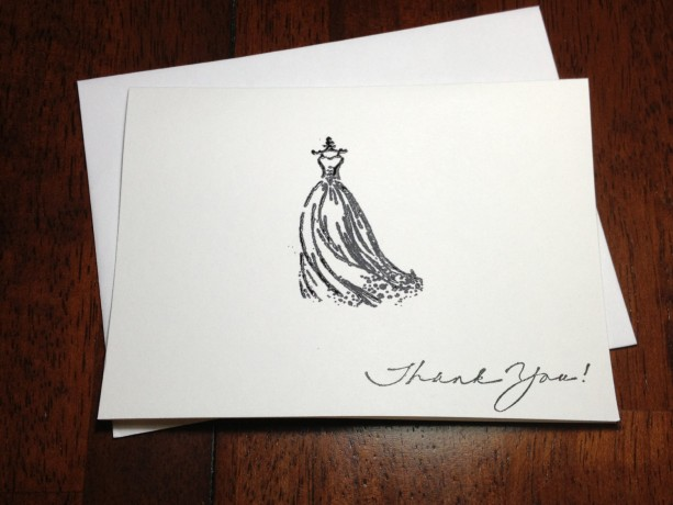 bridal shower thank you note card set hand embossed wedding gown bridal shower thank you