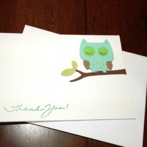 Owl Baby Shower Thank You Note Card Set, Handmade Owl, Gender Neutral, Owl Baby Shower Thank You Cards, Green Owl Cards, Thank You Card Set