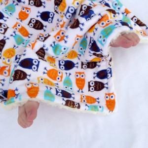 Lovie Security Blanket, READY TO SHIP- Minky Baby Blanket, Blue & Orange Night Owl Baby Blanket With Ivory Swirl Minky For Your Baby Bird