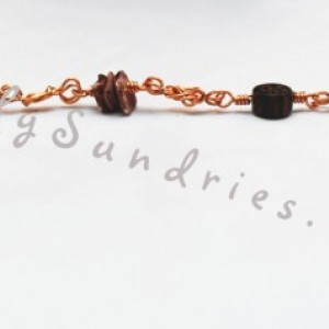 Handmade Copper Naval Knot Bracelet with Wood and Shell Beads - Sirens and Sailors Collection