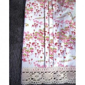 Little Girls Cotton Cropped Pants - Drawstring waist, front pleats, cotton lace trim - Size 3/4