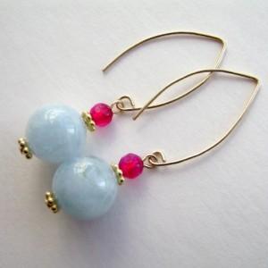 Aquamarine Earrings, Gold Earrings, Gemstone Jewelry, Ruby Agate, Vermeil, Blue, Pale Blue, Sky, Powder, Baby Blue, 490