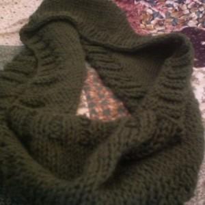 Green Infinity Scarf - Hand Knit Infinity Scarf - Handmade Infinity Scarf