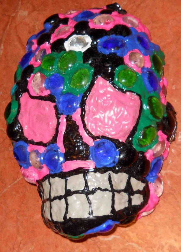 Glass Stones Day of the Dead/Dia de los Muertos Skull Glows in the Dark by Anthony Saldivar