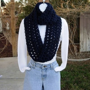 COWL SCARF Infinity Loop, Navy Dark Solid Blue, Wool Acrylic Blend Crochet Knit Winter Endless Circle, Neck Warmer..Ready to Ship in 2 Days