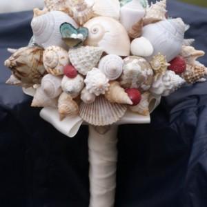 Multi-Color Seashell Bouquet / Boutonierre Set
