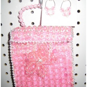 Pink-Beaded designer purse