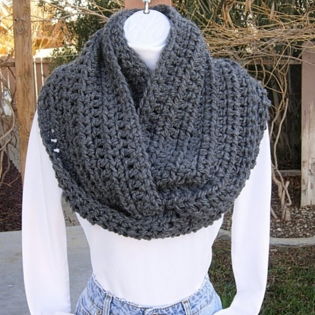 Large INFINITY SCARF Loop Cowl Solid Charcoal Grey Gray, Big Wide Soft Winter Soft Crochet Knit, Bulky Wrap..Ready to Ship in 5 Days