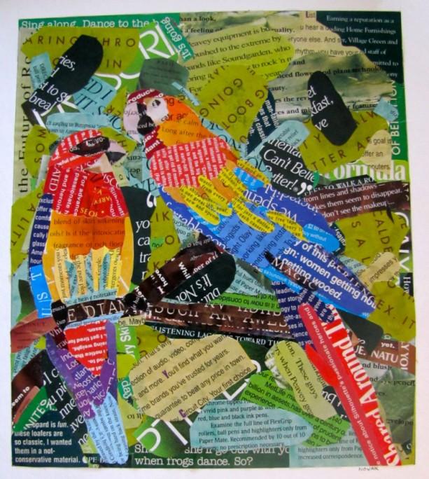 "Original  Parrot Collage Art -  9 1/2""x 11"" Tropical bird art, Florida, Jungle, Beach decor, parrot art, parrot collage,tropical decor, ooak"
