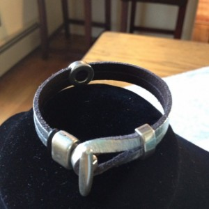 Unisex Silver metallic leather and silver bead bracelet. Leather can be ordered in different colors.