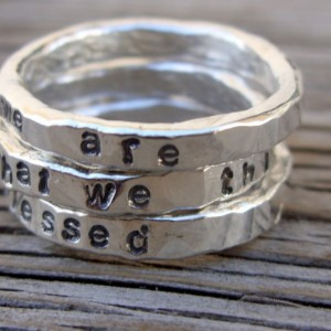 Made to order- ONE 3mm fine silver stacking ring- hand stamped with your choice of phrase-words stacker ring