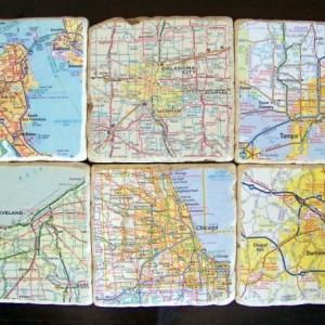 Custom Map Coasters - Set of 6