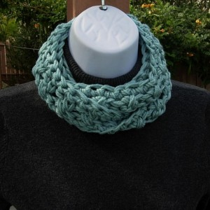 SUMMER SCARF Infinity Loop, Solid Seafoam Blue Green Teal, Soft Lightweight Skinny Small Cowl, Crochet Necklace, Women's Neck Tie..Ready to Ship in 2 Days