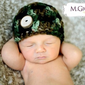 Camo Natural Button Beanie- Newborn Photo Prop