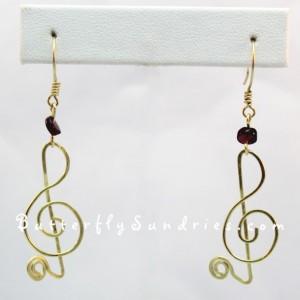 Treble Clef Earrings with Garnet Beads