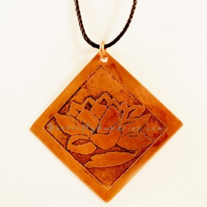 Etched Copper Lotus Pendant - Lotus Collection
