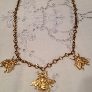Downton Abbey OOAK  antique chain necklace with honey bee charms.