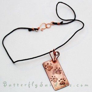 Etched Copper Pawprints OOAK Choker - Fur Babies Collection